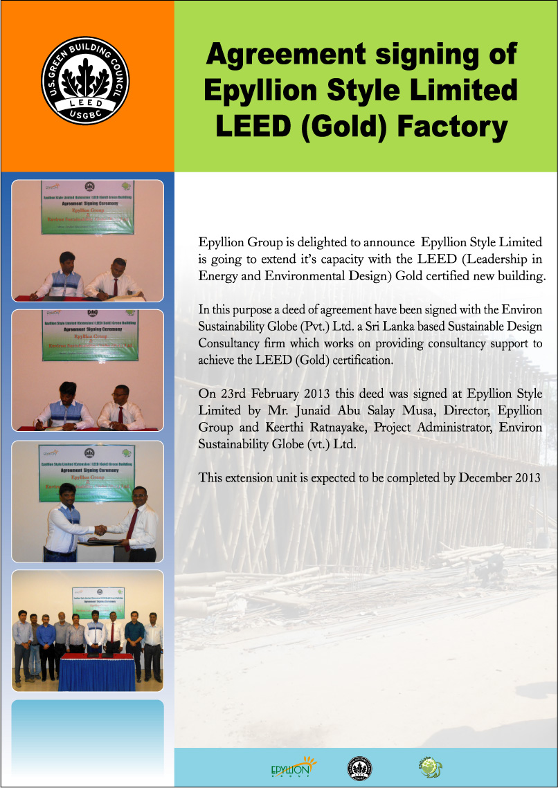 Agreement Signing Of Epyllion Style Limited Leedgold Factory